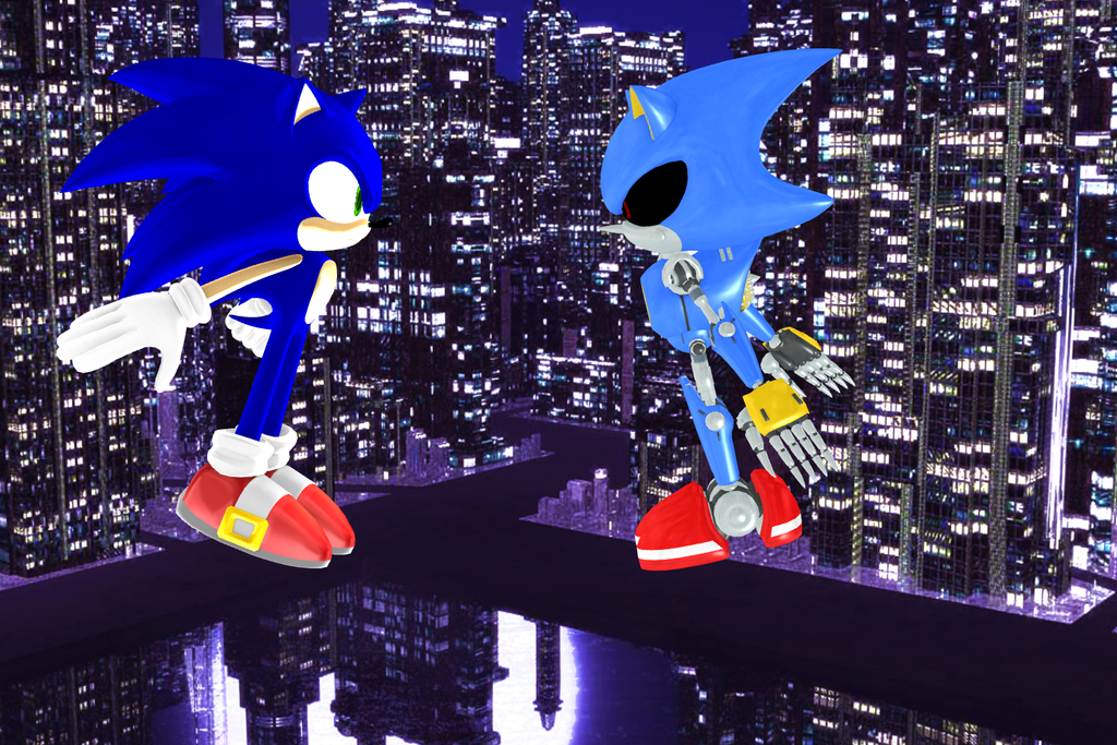 Sonic and Metal Sonic Face off by SuperSmashCynderLum