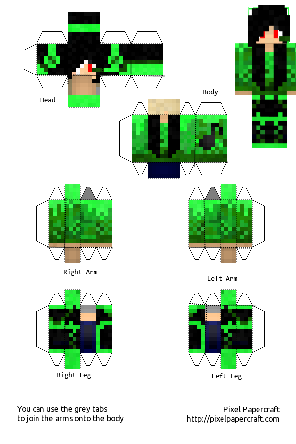 Music Girl Green minecraft template by Saria4 on DeviantArt  Music Girl Gree...
