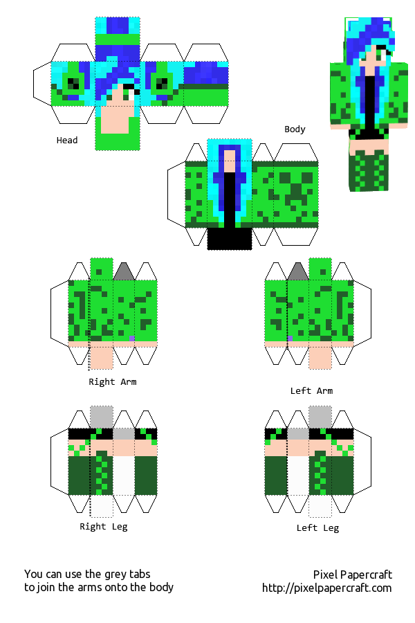 Creeper Girl With Blue Hair Template by Saria4 on DeviantArt  Creeper Girl Wi...