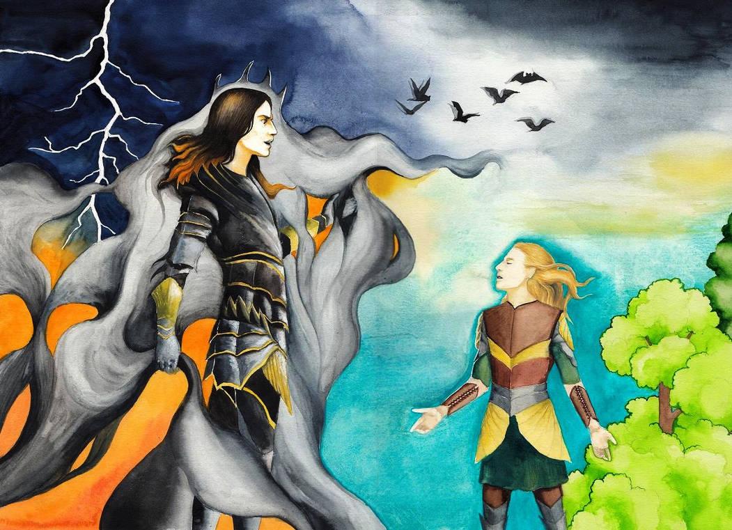 Finrod vs. Sauron by SarkaSkorpikova