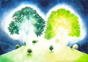 The two trees of Valinor IV by SarkaSkorpikova