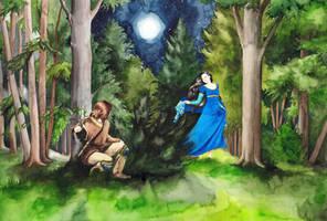 Beren Meets Luthien by SarkaSkorpikova