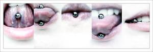 tongue piercing x 5
