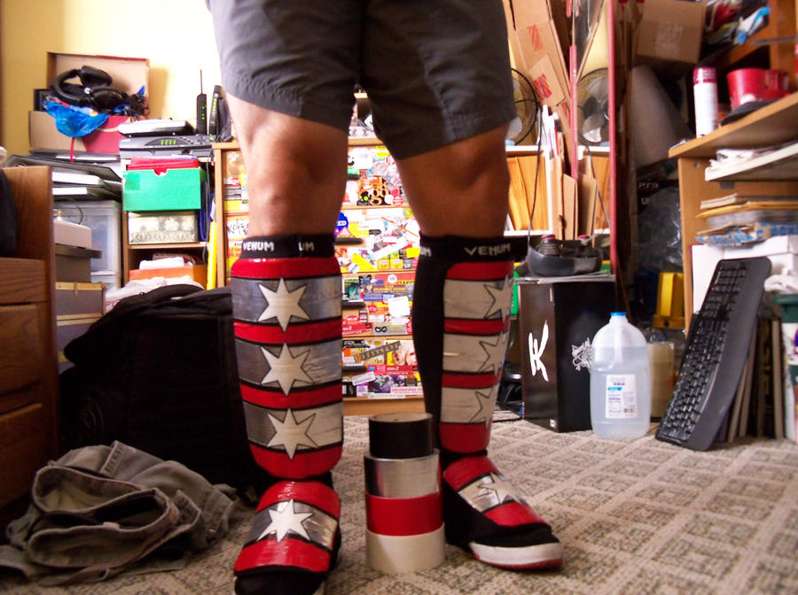CM Punk shin pads home made cosplay with duct tape by emceelokey