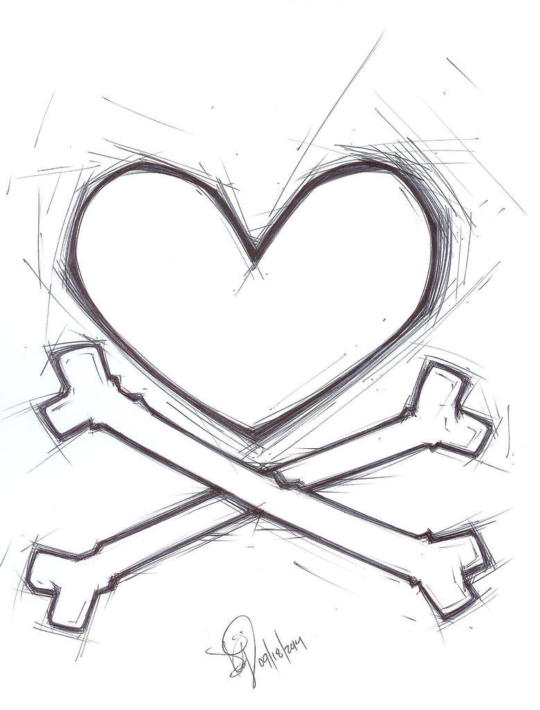 Heart & Crossbones by emceelokey