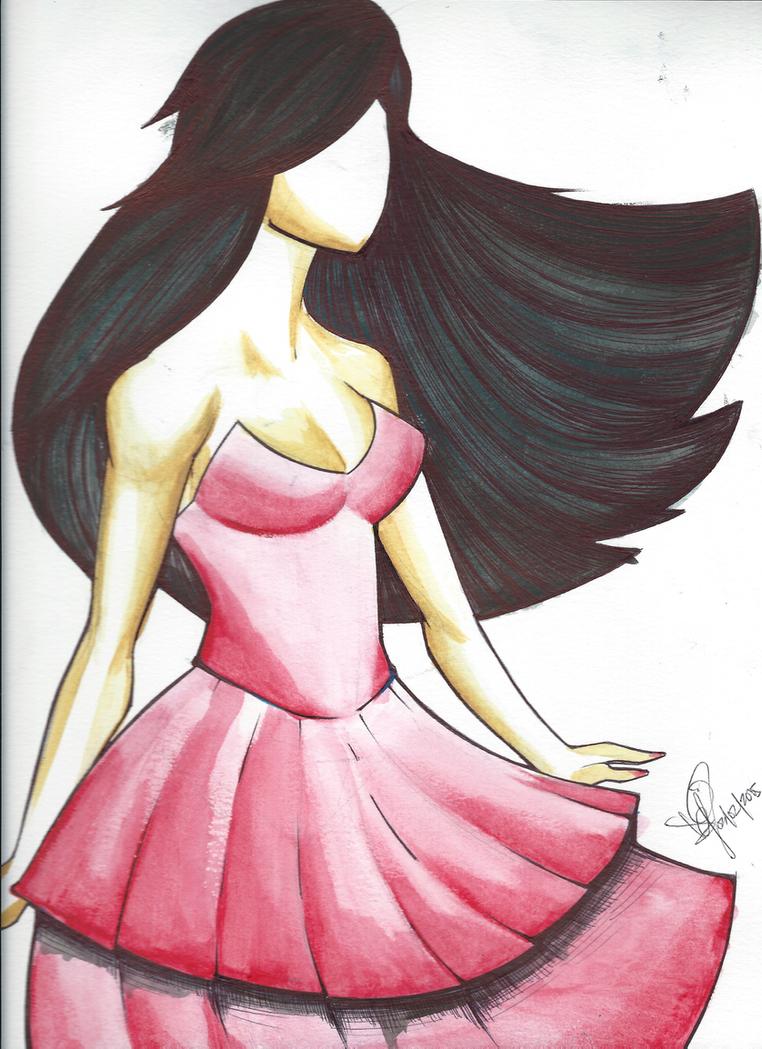 Pink Dress Watercolour by emceelokey