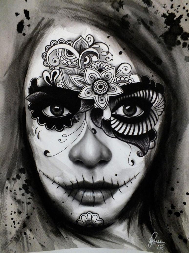 Famosos Day of the dead/ El Dia de los Muertos Lady Tattoo by gpreece on  JH39