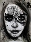 Day of the dead/ El Dia de los Muertos Lady Tattoo