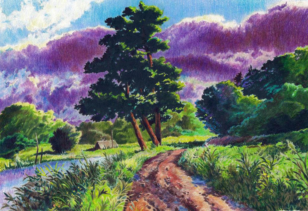 Background art study from Mononoke by KingVahagn