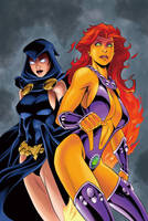 Starfire and Raven by Inkermoy