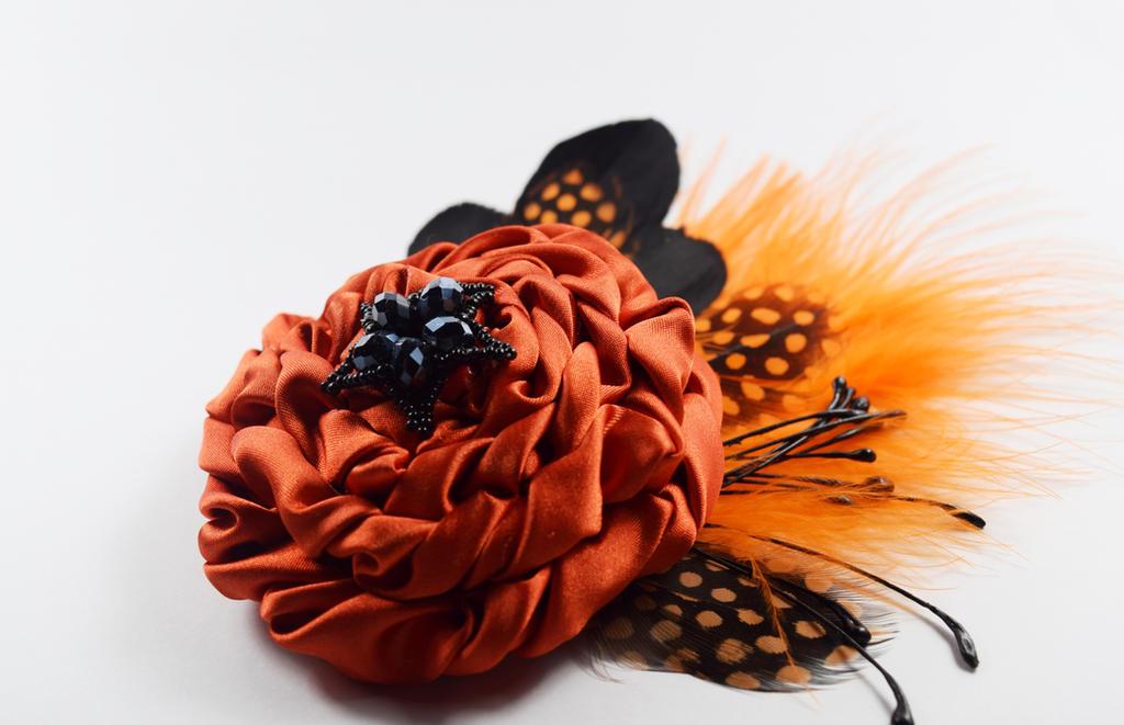 Orange beaded brooch (available)