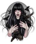 Raven Girl - Vector illustration