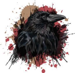 Raven portrait - vector