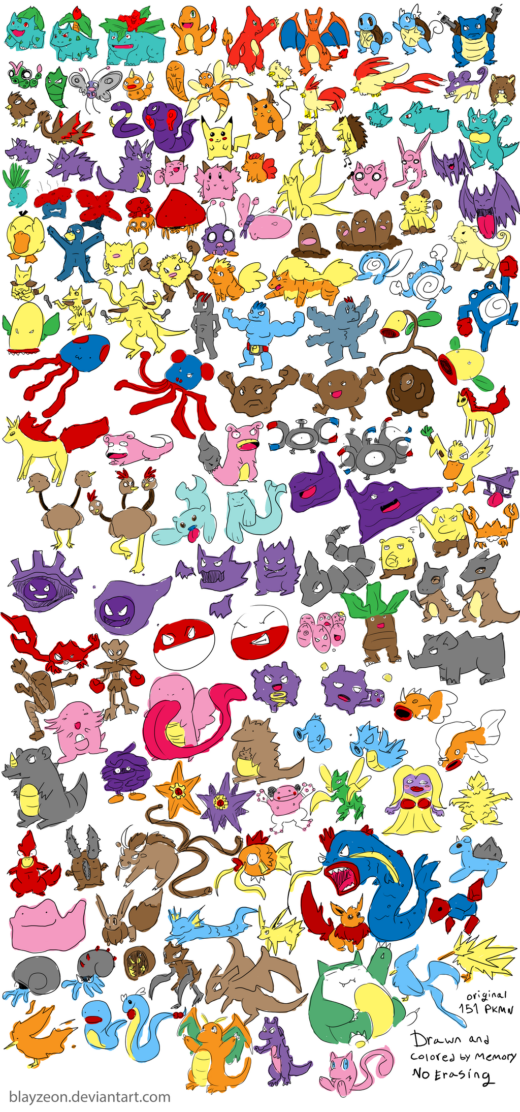 151 Pokemon Drawn by Memory by blayzeon