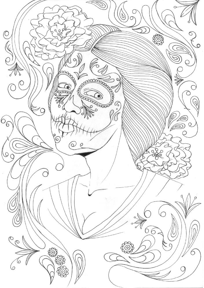 Line Art Painting : Mexican skull painting line art by itsmeruttu on deviantart