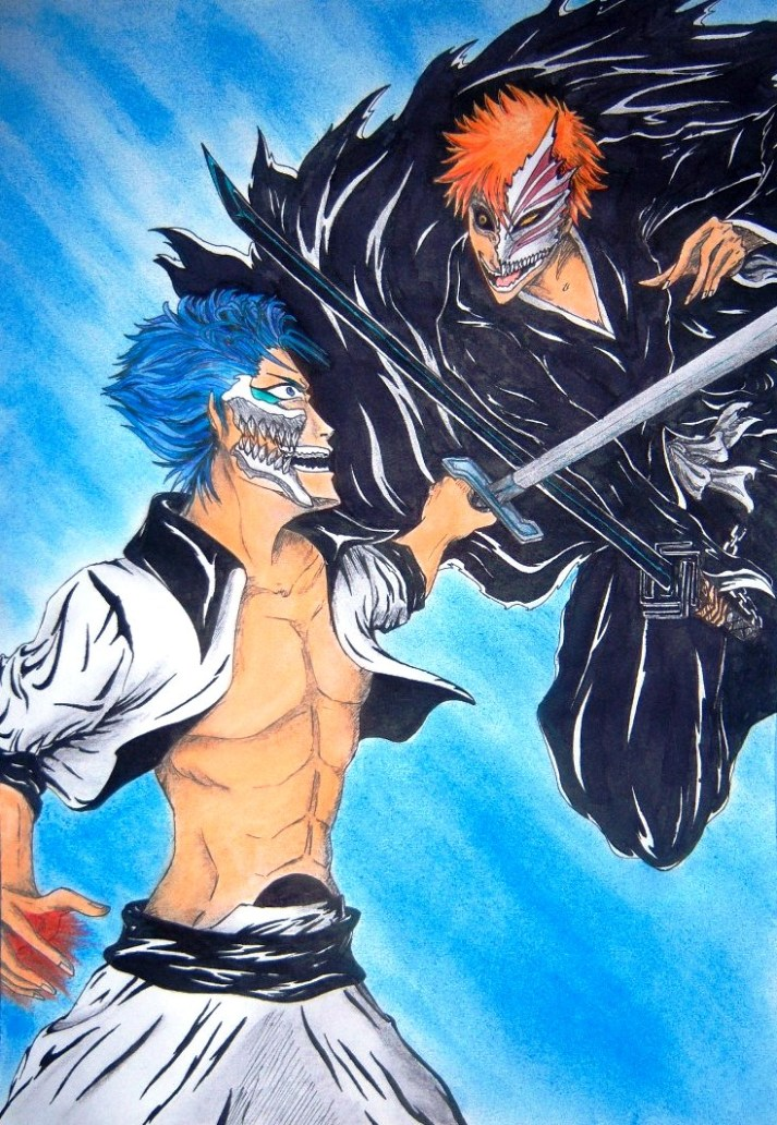 Grimmjow vs Hichigo color by Shakti-chan
