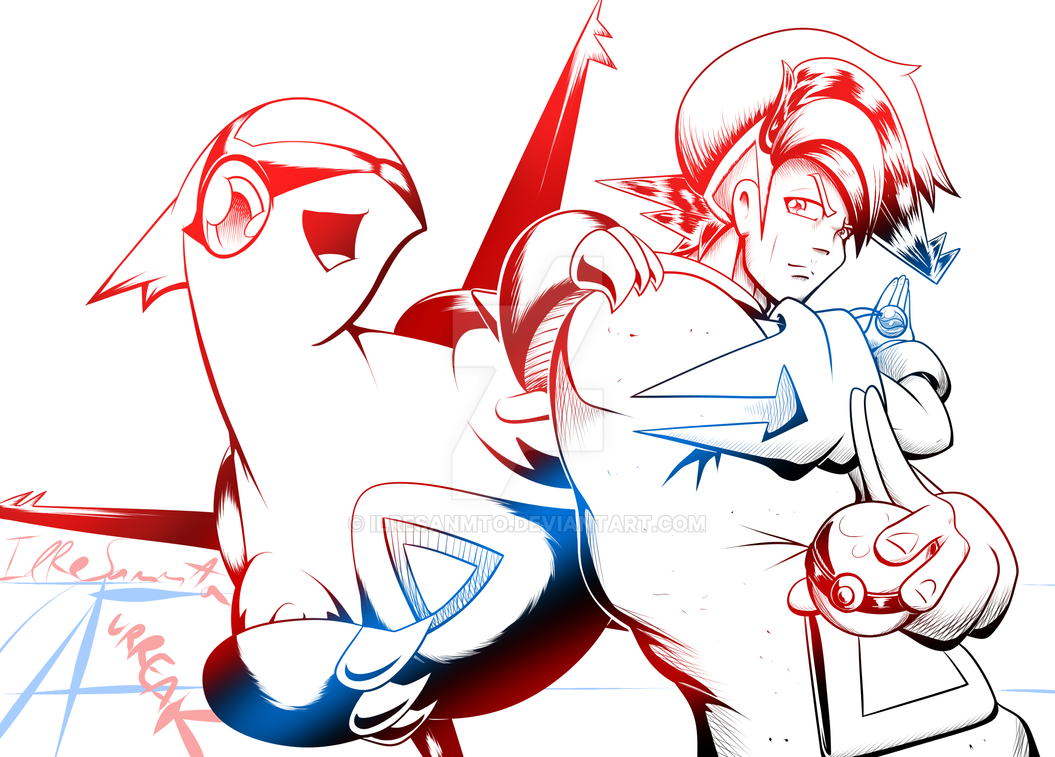 [LineartCommission] Jojo-posing trainer and Latias by IlReSanmto