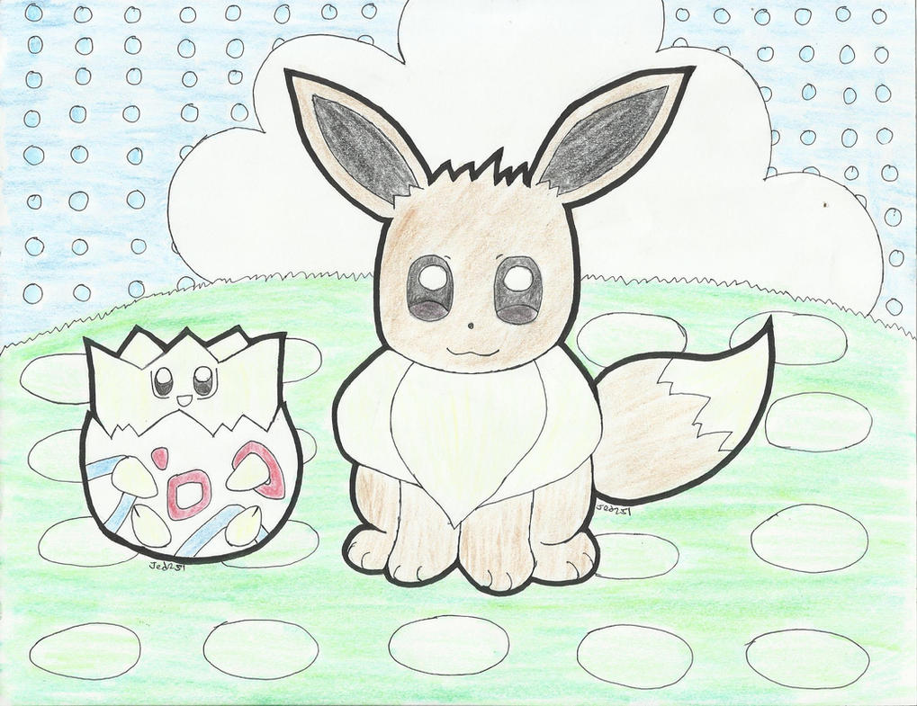 Eevee and Togepi in Pokemon Amie by jed251