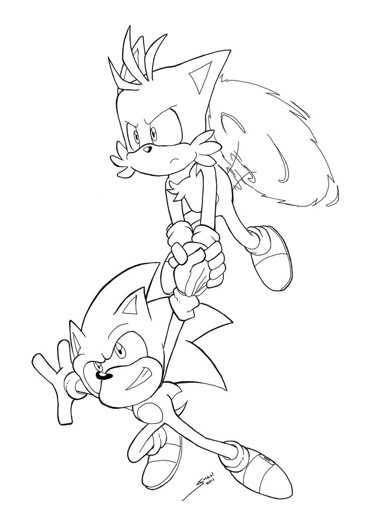 Sonic and tails line art by jazzyjin on deviantart for Sonic tails coloring pages
