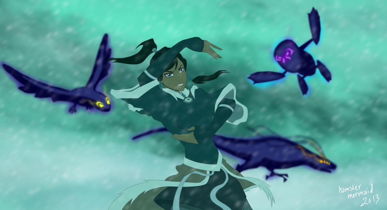 Korra versus Spirits by hamstermermaid