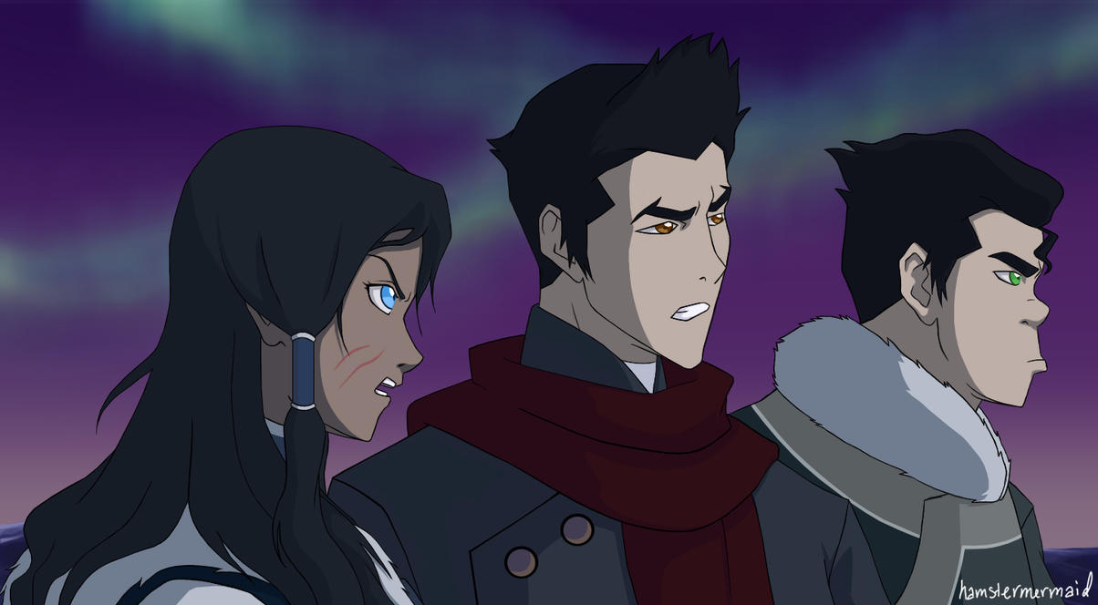 Korra, Mako, and Bolin by hamstermermaid - 88.0KB