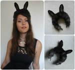 SOLD - Black bunny ears by Exifia