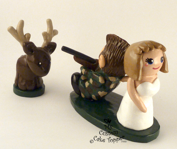 Hunting Bride And Groom Wedding Cake Topper By Hollys Art