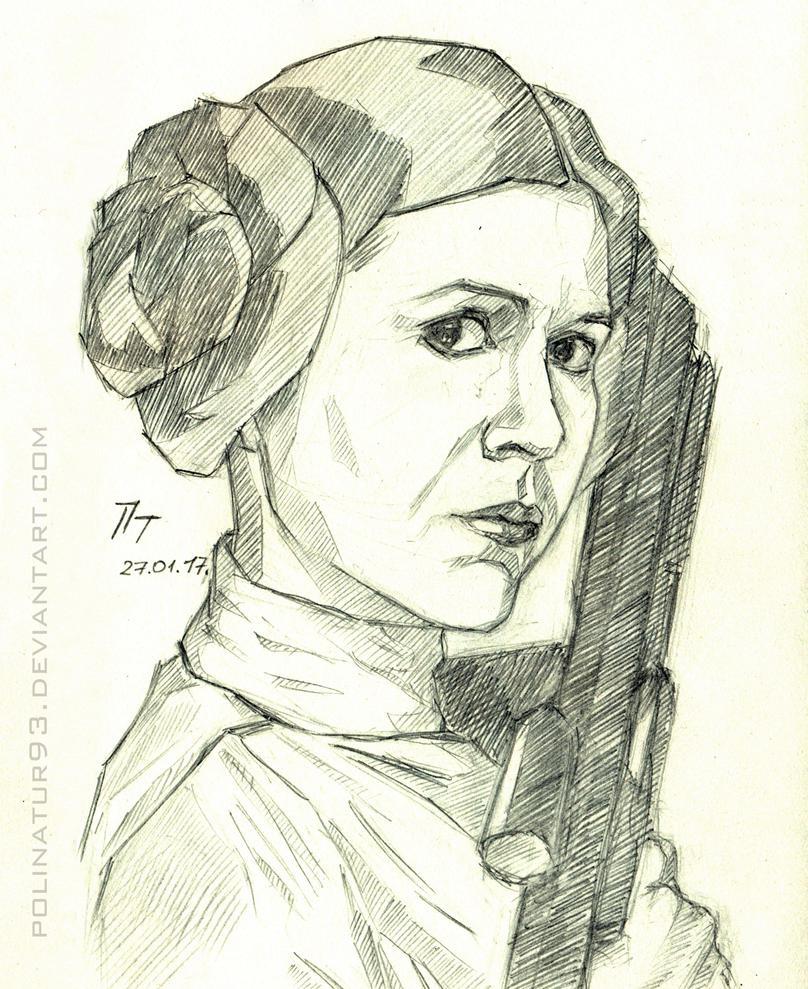 Princess Leia, sketch by polinatur93