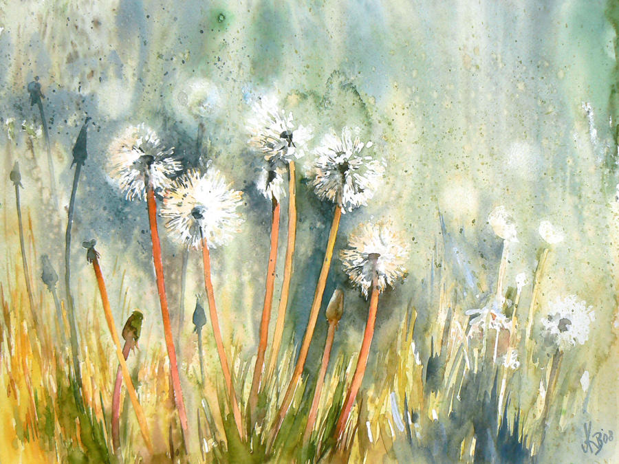 Dandelions by mashami on deviantart for Watercolor pictures to paint