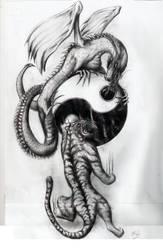 Dragon and tiger pen drawing