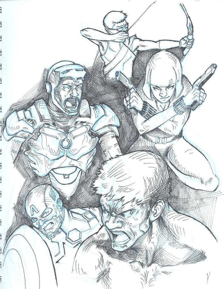 Avengers Sketch by mad-fever
