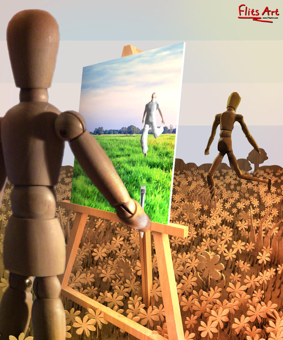 Painting of a Grass Field by FlitsArt