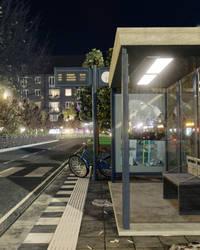 Bus Stop at Night by FlitsArt