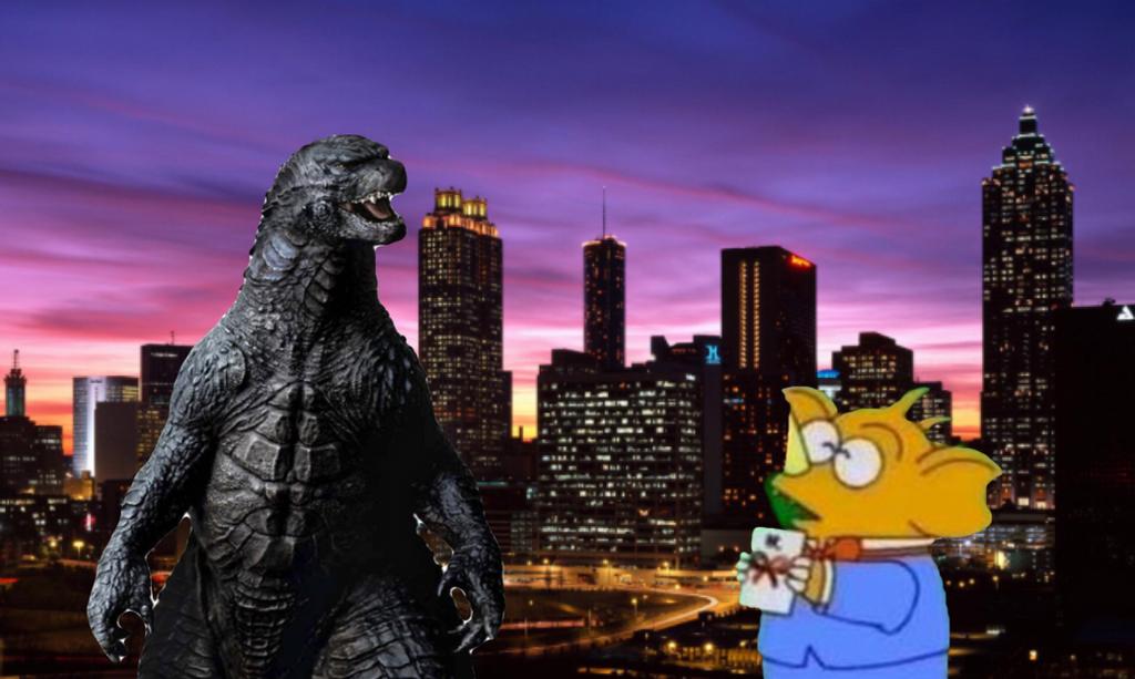 Godzilla 2014 and little baragon by Professorfish