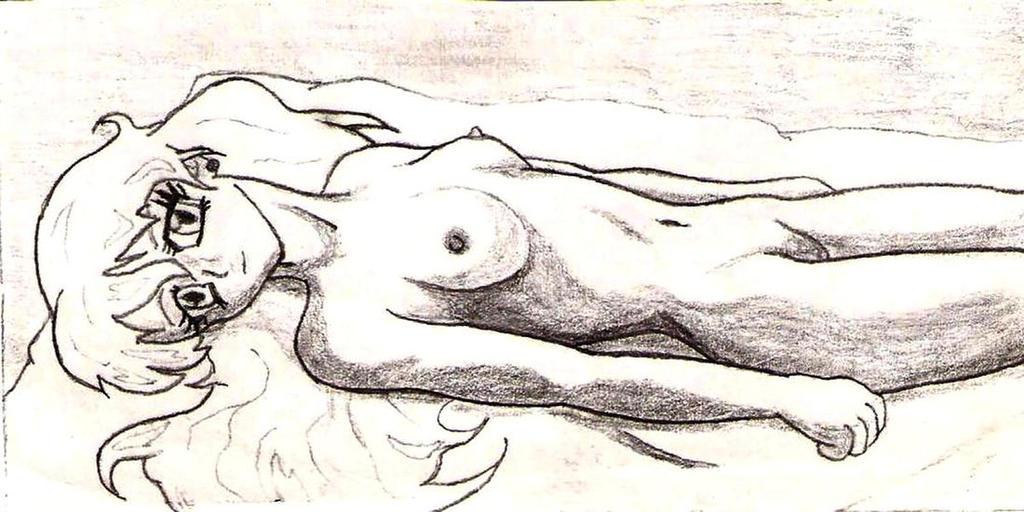 Woman lying on sheet by DUKEYAMASAKI