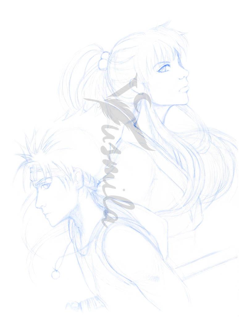 Hiei and Botan Sketch