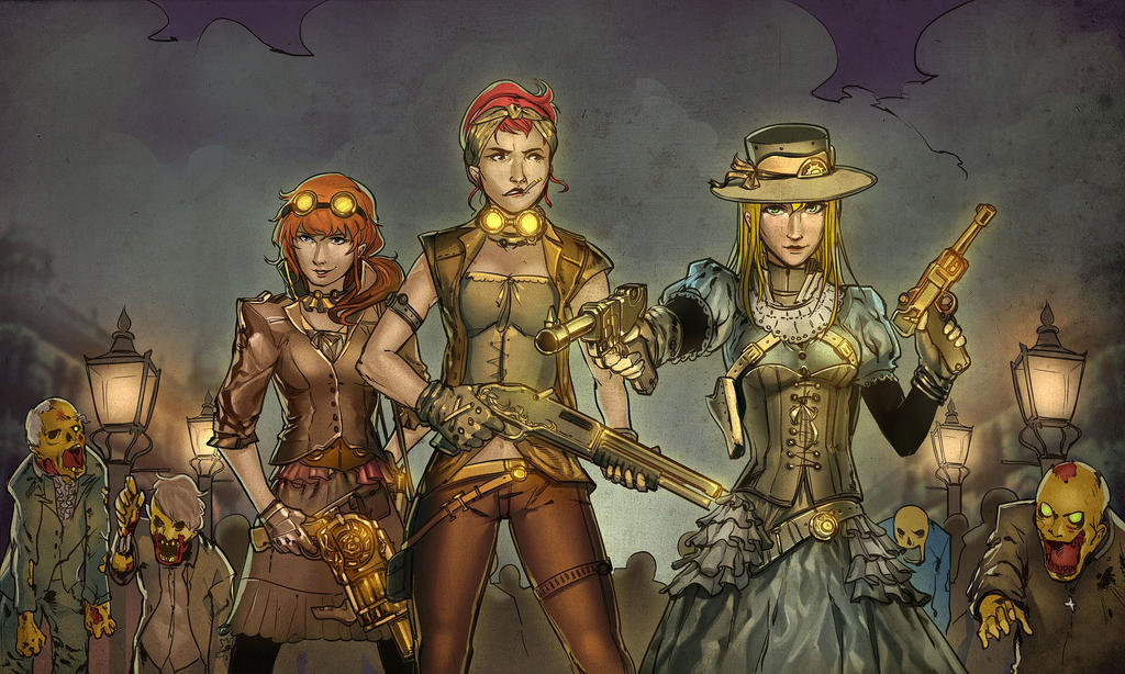 Steampunk Femininsts VS Zombies by mqken