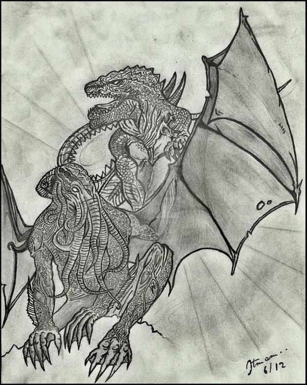 Of Myth And Monsters Cthulhu W Godzilla By UnholyArtistry
