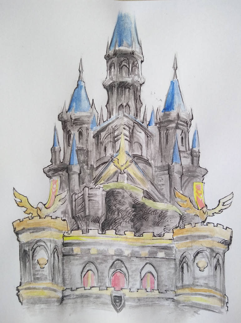 Hyrule castle before the calamity watercolor by orcsan