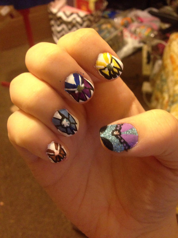 Senshi Nail Art Right Hand by MagicalCrystalWings