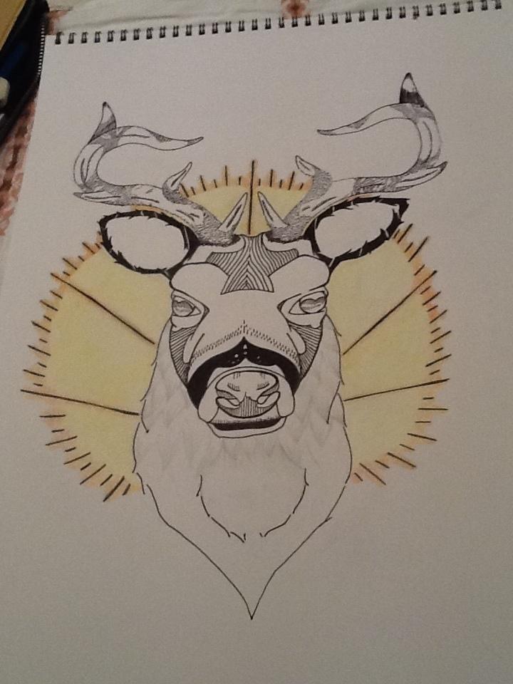 Deer tattoo by Jubasrocks Traditional Deer Tattoo Drawing
