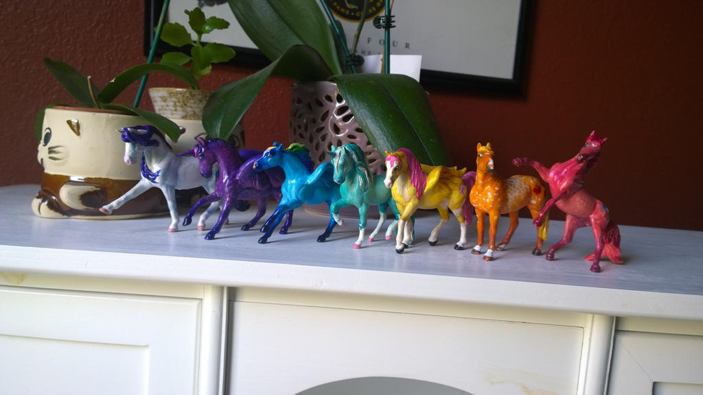 Set of My Little Pony horse models by QueenAnneka