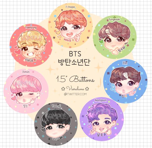 BTS buttons by KokoTensho