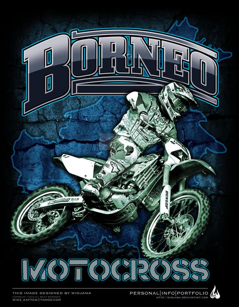 Design t shirt motocross - Borneo Motocross 01 By Widjana
