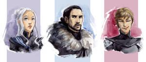 Daenerys, Jon, Cersei by Biorn-21
