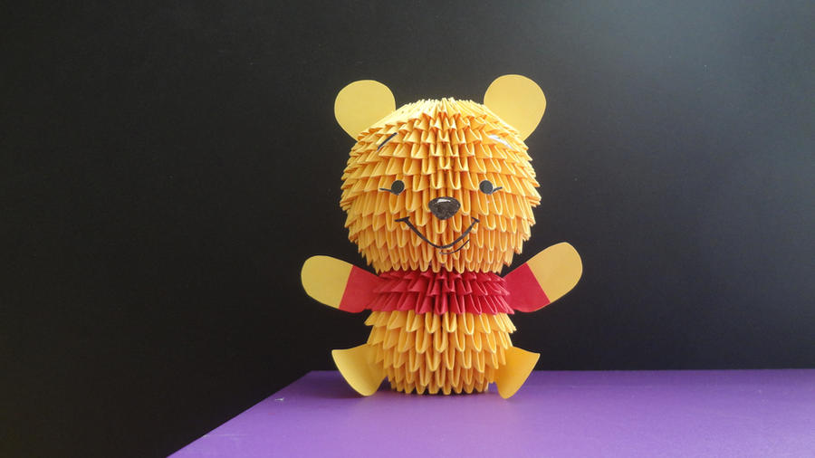 3D Origami Winnie The Pooh By IBeautyLovely
