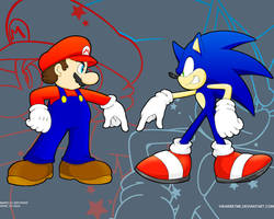 Mario and Sonic by ihearrrtme