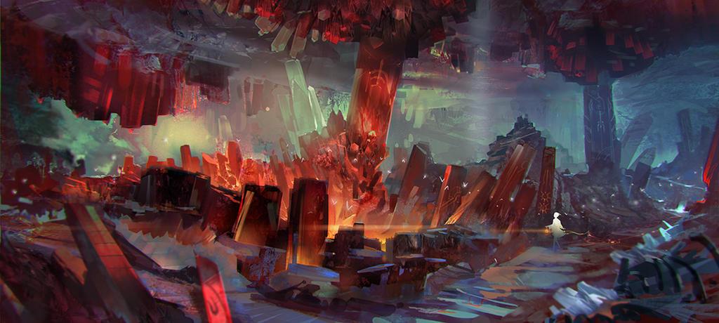 Blood Crystal Caverns by el-zheng
