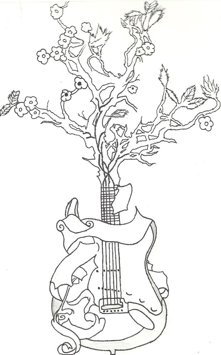 Guitar Tree Drawing Guitar Tattoo