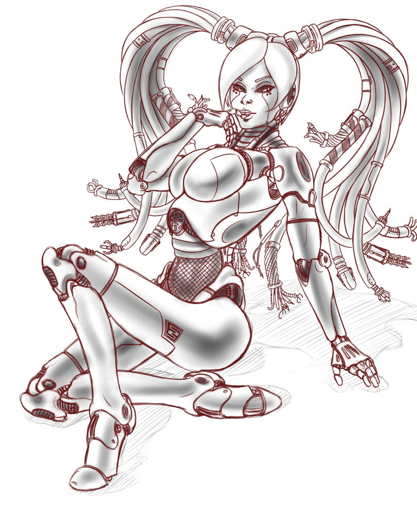 robo pinup WIP by EnigmaticEnigma